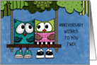 Happy Anniversary for couple-Two Owls on Tree Swing card