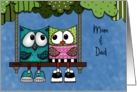 Customizable Happy Anniversary for Mom and Dad-Two Owls on Tree Swing card