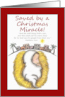 Merry Christmas -Baby Jesus-Saved by a Miracle-Matthew 1:21 card