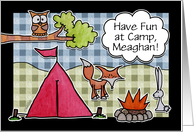 Customizable Name Have Fun At Summer Camp- Woodland Creatures card