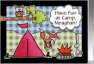 Customizable Name Have Fun At Summer Camp- Woodland Creatures card