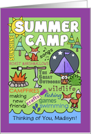 Customizable Name- Thinking of You-Summer Camp- Camp Theme Subway Art card