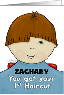 Customize Name Zachary-Congratulations First Haircut- Little Boy-Red card