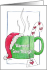 Warmest Greetings-Teacup with Santa Hat- Merry Christmas card