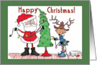 Happy Christmas-Santa and Reindeer Decorating Tree card