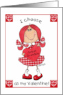 Happy Valentines Day for Great Grandfather-Red Haired Girl Greeting Card