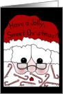 Merry Christmas- Santa and Candy Canes Stuck in Beard card