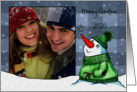 Merry Christmas Photo Card-Snowman with Snowflake card