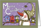 Merry Christmas-Snowman and Bird Friends card