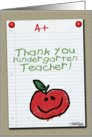 Thank You for Kindergarten Teacher-A+ Notebook Paper card