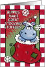 Merry Christmas -Hippo Stocking Stuffer card