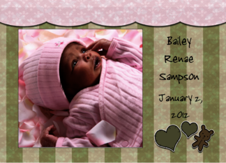 Customizable Photo Birth Announcement for Baby Girl-Hearts, Bear Greeting Card