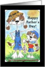 Happy Father&rsquo;s Day-Father and Son Dogs-Fishing Day card