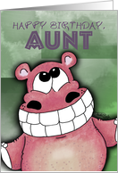Happy Birthday, Aunt - Grinning Hippo card