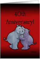 Happy 40th Anniversary- Hugging Hippos card