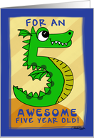 Happy Birthday Awesome 5 year old Godson- Number Five Shaped Dragon card