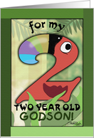 Happy Birthday 2 year old Godson- Number Two Shaped Toucan card
