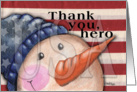 Christmas Time Thank You for Military Vet-Americana Snowman card