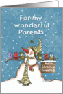 Warm Christmas Greetings for Parents- Snowman and Bird Friends card
