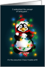 Penguin Wrapped in Lights Christmas Humor card