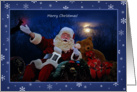 Santa Claus in Sleigh Moonlight Christmas card