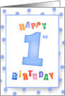 1 Year Old Birthday Blue Celebration card