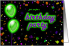 Glow In Dark Birthday Party Invitations card