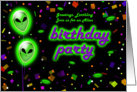 Alien Theme Birthday Party Invitations card