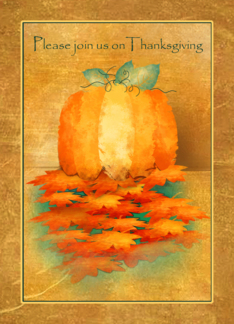 Pumpkin and Fall Leaves Thanksgiving Invitation Greeting Card