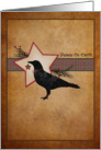 Peace on Earth Christmas Cards Primitive Folk Art Crow and Star card