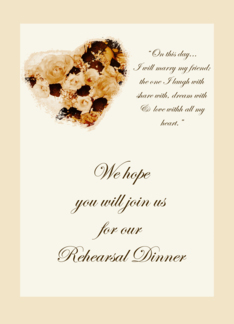 Rehearsal Dinner Invitation Floral Antique Roses Card Greeting Card