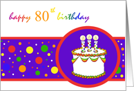 80th Happy Birthday Cake rainbow design card
