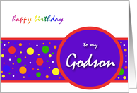 God Son Birthday Card Rainbow Polka Dot design card