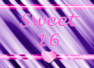 Sweet Sixteen Purple With Pink Heart Greeting Card