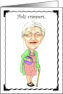 Holy Crappers Granny Bobblehead Humor Birthday Card