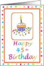 45 Years Old Lit Candle Cupcake Birthday Party Invitation Confetti Border Greeting Card
