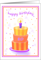 80 Years Old Happy Birthday Stacked Cake Lit Candle card