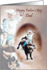 For Dad Father's Day Card BullRider Cowboy card