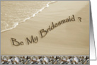 Be My Bridesmaid? Wedding Invitation Attendants Beach Theme with Wave & Shell Border card