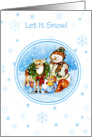 Let It Snow Snowman & Animal Friends Christmas Card