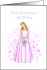 Elegant Thank You For Being In My Wedding Cards Greeting Card
