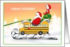 Humor Bus Driver Santa Christmas Cards
