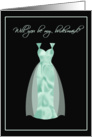 Mint Green Satin Bridesmaid Invitations card