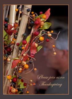 Berries Fall Themed Thanksgiving Invitations Cards Greeting Card