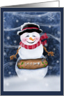 Let It Snow Smiling Snowman Christmas Cards