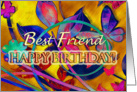 Extreme Floral Best Friend Birthday card
