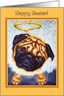 Easter - Pug Dog Angel Wings Halo card