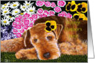 Mother's Day - Airedale with Flowers card