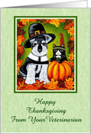Happy Thanksgiving From Your Veterinarian - Pilgrim Dog Indian Cat card