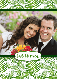 Tropical Green Leaves Just Married Photo Wedding Announcement Greeting Card
